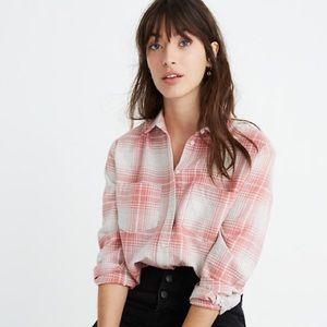 Madewell Flannel Sunday Shirt Pink Plaid